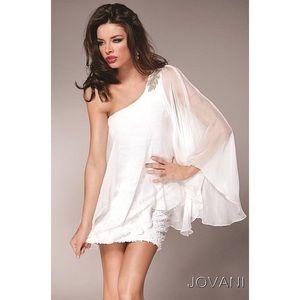 Jovani One Shoulder Short Dress Black